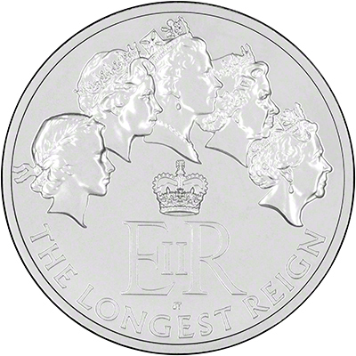 2015 Longest Reigning Monarch Silver Twenty Pound Coin Reverse