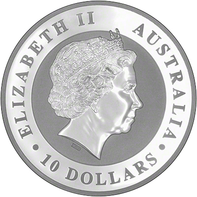 2016 Australian Ten Ounce Silver Kookaburra Obverse