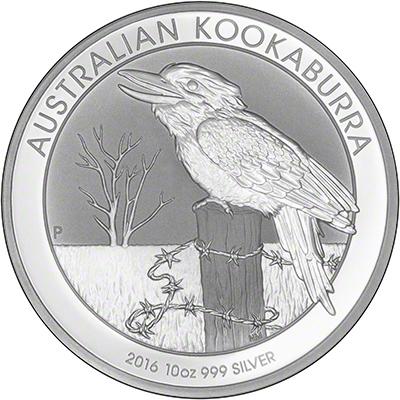 2016 Australian Ten Ounce Silver Kookaburra Reverse