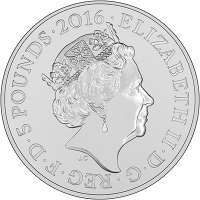 2016 Queen Elizabeth 90th Birthday B.U. £5 Obverse