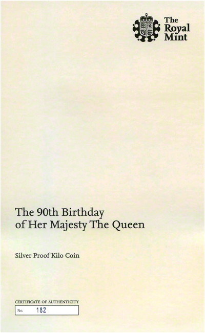 2016 Queen's 90th Birthday One Kilo Coin Certificate Obverse