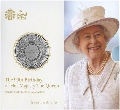 2016 Queen Elizabeth 90th Birthday Brilliant Uncirculated £5 Presentation Folder Obverse