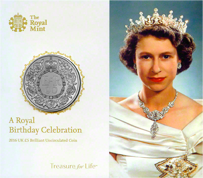 2016 Queen Elizabeth 90th Birthday Brilliant Uncirculated £5 Presentation Folder Inside