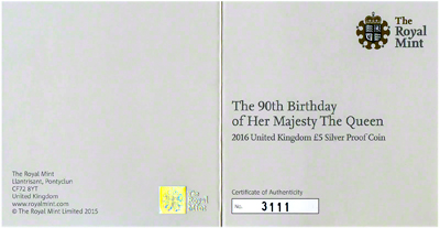 2016 Queen Elizabeth 90th Birthday Silver Proof £5 Certificate Obverse