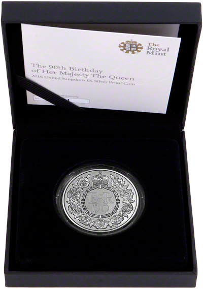 2016 Queen Elizabeth 90th Birthday Silver Proof £5 in Presentation Box