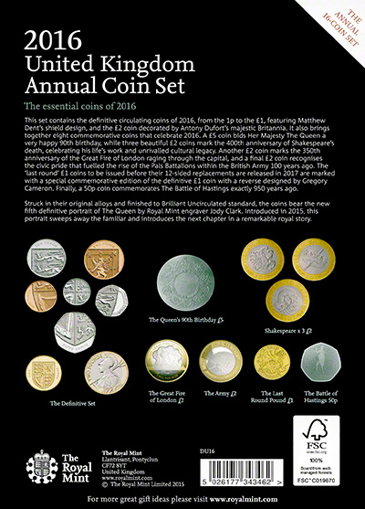 2016 Sixteen Coin Annual Set Reverse