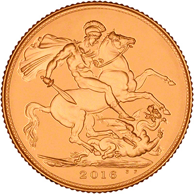 Reverse of 2016 Gold Sovereign