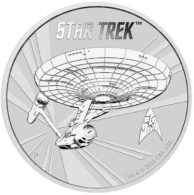 Reverse of 2016 Star Trek One Ounce Silver Coin