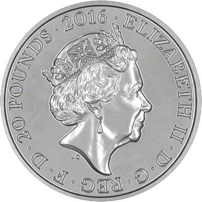 2016 Queen Elizabeth II 90th Birthday Twenty Pound Coin Obverse