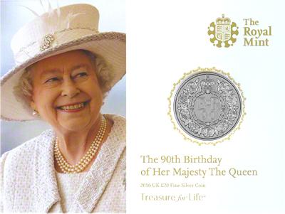 2016 Queen Elizabeth II 90th Birthday Twenty Pound Coin in Presentation Pack Obverse