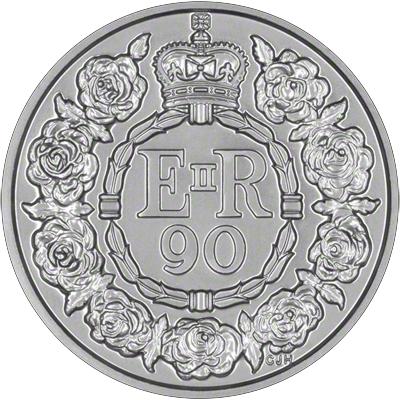2016 Queen Elizabeth II 90th Birthday Twenty Pound Coin Reverse