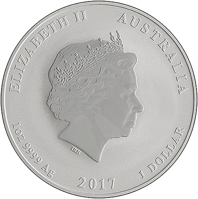 2017 Australian Year of the Rooster One Ounce Silver Coin - Series 2 Obverse