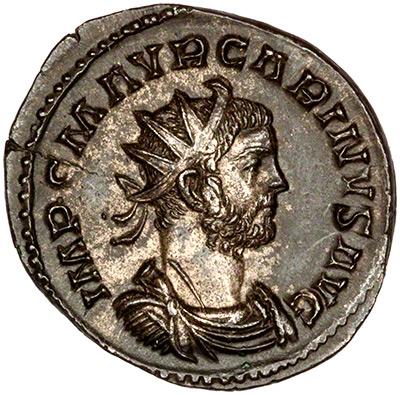 Obverse of 283-285 Carinus Antoninianus