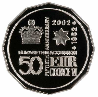 Colour Printed Reverse of 2001 Australian Fifty Cent