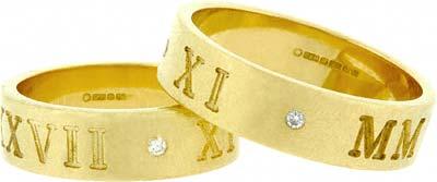 Wedding Band Engraved with 14-02-2007 and Diamond Set