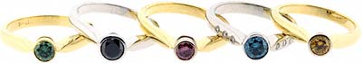 Assorted Coloured Diamond Solitaire Rings