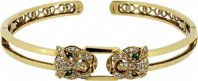 Second Hand Emerald & Diamond Set Bangle