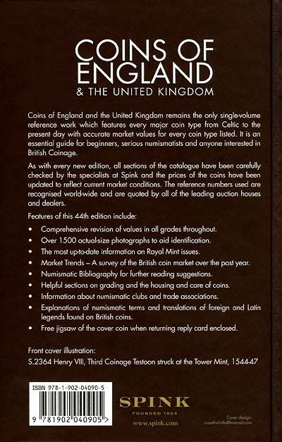 British Coins by Spink - Back Cover