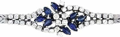 Fancy Diamond and Sapphire Bracelet in 18ct White Gold