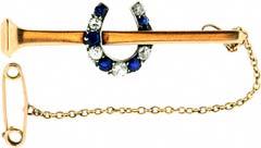 #2747 Sapphire and Diamond Horseshoe Brooch
