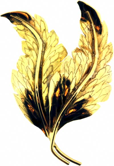 Double Leaf Gold Brooch