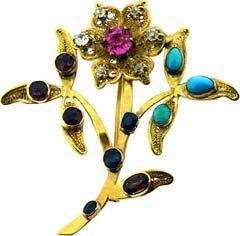 #4638 Gem-set Flower Brooch