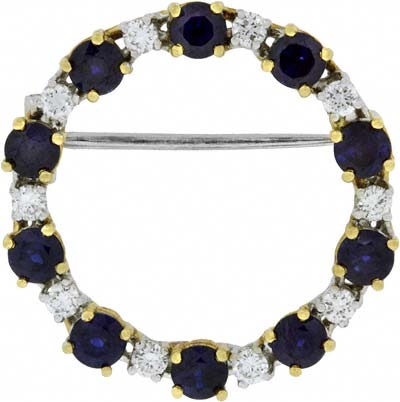 Sapphire and Diamond Brooch