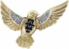 Second Hand 9ct Gold Sapphire & Diamond Brooch