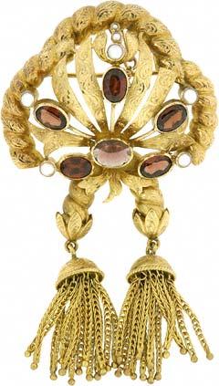 Garnet & Pearl Tassel Gold Brooch
