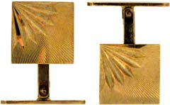 9ct Gold Cufflinks with Diamond Cut Fan