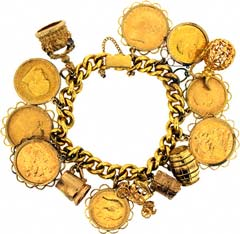 Gold Coin & Charm Bracelet