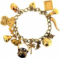 Gold 'Football and Teddy' Charm Bracelet