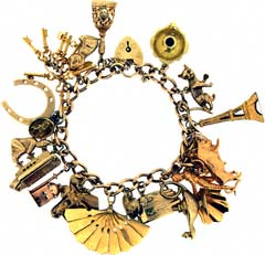 Gold 'Holiday and Good Luck' Charm Bracelet