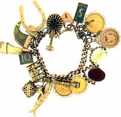 Gold 'Horseshoe and Fish' Charm Bracelet
