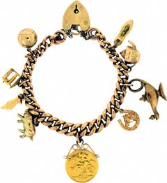 Gold 'Lamp and Half Sovereign' Charm Bracelet