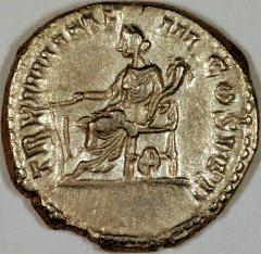Fortuna on Reverse of SIlver Denarius of Commodus