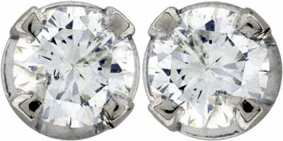 Claw Set 0.32ct Diamond Ear-Rings in 18ct White Gold