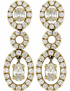 Second Hand Fancy Diamond Drop Ear-Rings