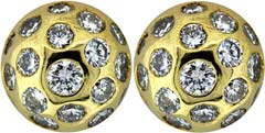 Diamond Set Ear-Rings in 18ct Yellow Gold