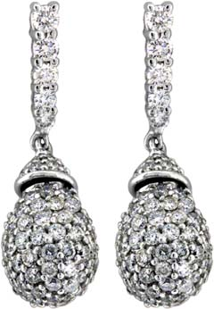 Diamond Drop Ear-Rings in 18ct White Gold