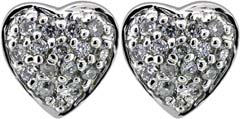 Heart-Shaped Diamond Set Ear-Rings in 18ct White Gold