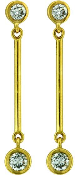 Diamond Drop Ear-Rings in 18ct Yellow Gold