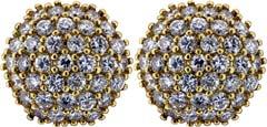 Second Hand Fancy Diamond Cluster Ear-Rings