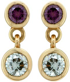 Enhanced Purple & White Diamond Ear-Rings