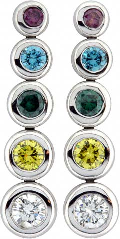 Multi- Coloured Diamond Drop Ear-Rings