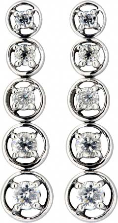Five Stone Graduated Diamond Drop Ear-Rings