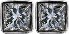Rim Set 0.51ct Princess cut Diamond Ear-Rings