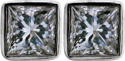 Princess Cut Diamond Ear-Rings in 18ct White Gold