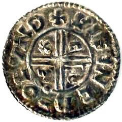Reverse of Ethelred II Silve Penny Showing CRUX Reverse Type