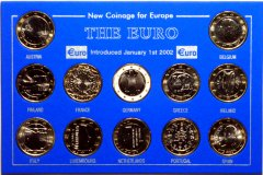 Complete 12 Coin Set of 1 Euro Coins